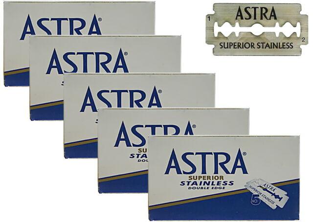 25 Astra Superior Stainless Cuchillas Afeitado Para Maquinilla de Doble Edge