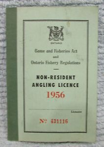 Old-1956-Ontario-Fishing-Angling-License-4x6-Vintage-Pocket-Booklet-FREE-S-H