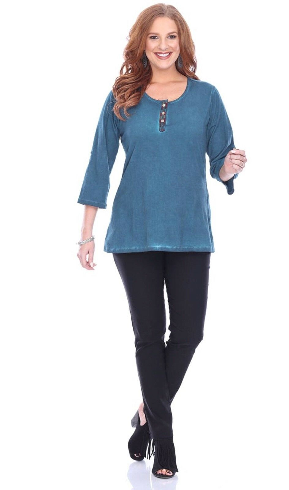 NEW Parsley&Sage Plus Fall Winter Buttoned Back Teal Bailey Blouse Top Shirt 2X