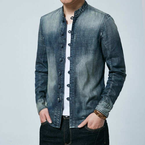 Men Chinese Style Jacket Vintage Denim Jeans Tang Suit Coat Stand Collar Shirt