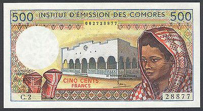 COMOROS COMORES 500 FRANCS ND 1984-2004 P 10 B TYPE 2 UNC