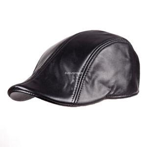 7ba62d8bea968 Black Top quality Leather Newsboy Hat Flat Ivy Cap Driving Golf ...