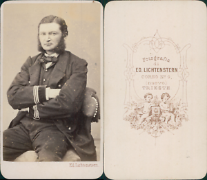 Lichtenstern-Trieste-Homme-assis-en-uniforme-militaire-circa-1865-CDV-vintage