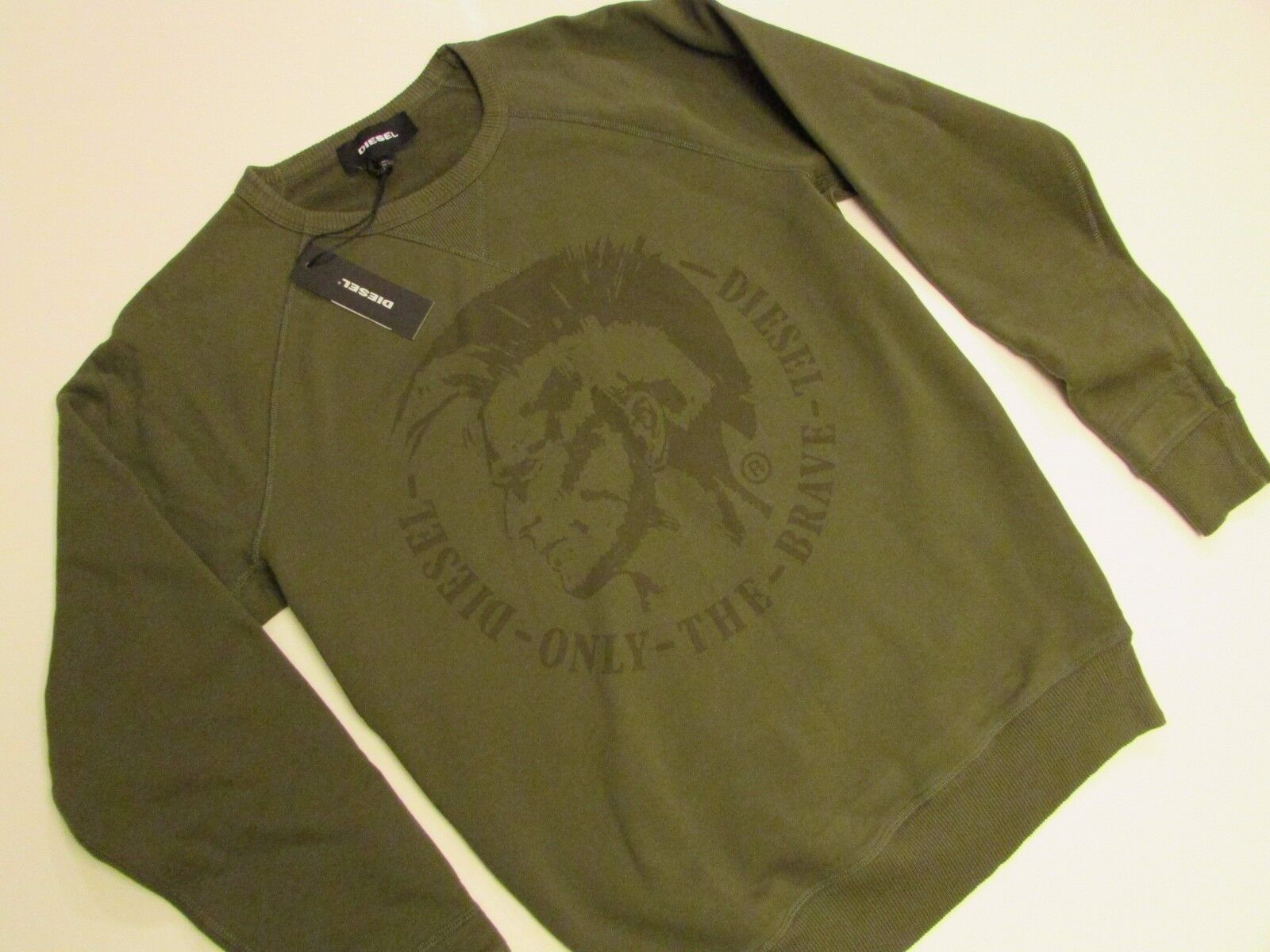 NWT  AUTHENTIC  Diesel S-Orestes Sweat Shirt Olive / Olive Shirt verde / Small e9a8c8