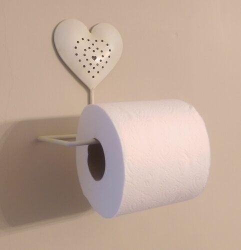 Cream Heart Toilet Roll Holder Vintage Shabby Chic Holder Bathroom Loo