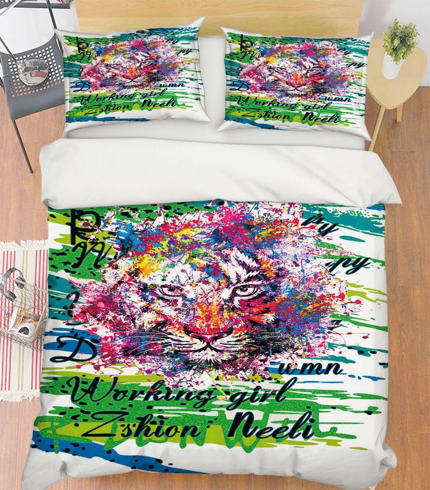 3D Doodle Tiger 587 Bed Pillowcases Quilt Duvet Cover Set Single King UK Summer