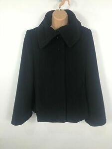 WOMENS-DOROTHY-PERKINS-BLACK-WOOL-RICH-INCL-CASHMERE-WINTER-OVER-COAT-SIZE-UK-12