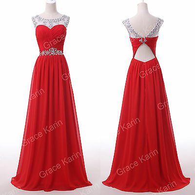 Womens Long Chiffon Evening Formal Gown Party Cocktail Prom Bridesmaid Dresses