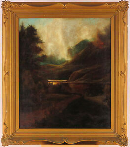 Antique c.1900 Oil/Canvas Signed Baldwin(? Tonalist Landscape British? American?