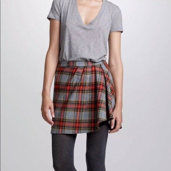 J Crew Womens Mini Skirt Plaid Wool Blend Size 4 NWT