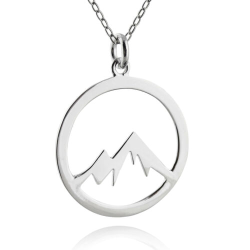 Mountain Peaks Necklace 925 Sterling Silver Cutout Charm Pendant Gift Nature NEW