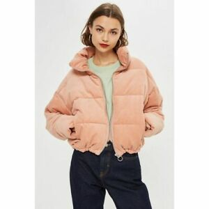 NWT Topshop Pink Corduroy Puffer Bomber Jacket Size 0P NEW ...