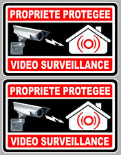 2 X VIDEO SURVEILLANCE PROPRIETE ALARME CAMERA 10cm AUTOCOLLANT STICKER (VA050)