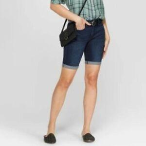 Universal Thread Women's 8 29 Waist Stretchy Dark Wash High Rise Bermuda Shorts