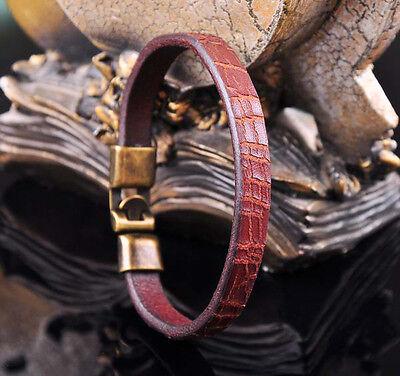 G43 Brown Handmade Genuine Leather Bracelet Wristband Men's Cuff Bronze Clasp