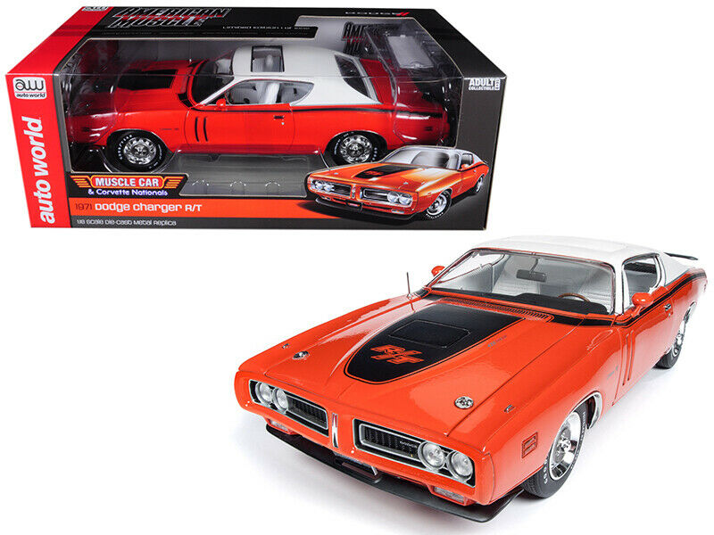 Autoworld 1  18 1971 Dodge Charger R T with blanc Sunroof Diecast Orange AMM1148  la meilleure offre de magasin en ligne