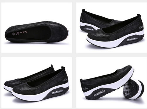 Lady Youth PU Sport Pumps Shoes Platform Shape Up Fitness Walking Trainers Size