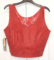Vintage Bermans Embossed Leather Crop Tank Top Red With Lace Back Sz L