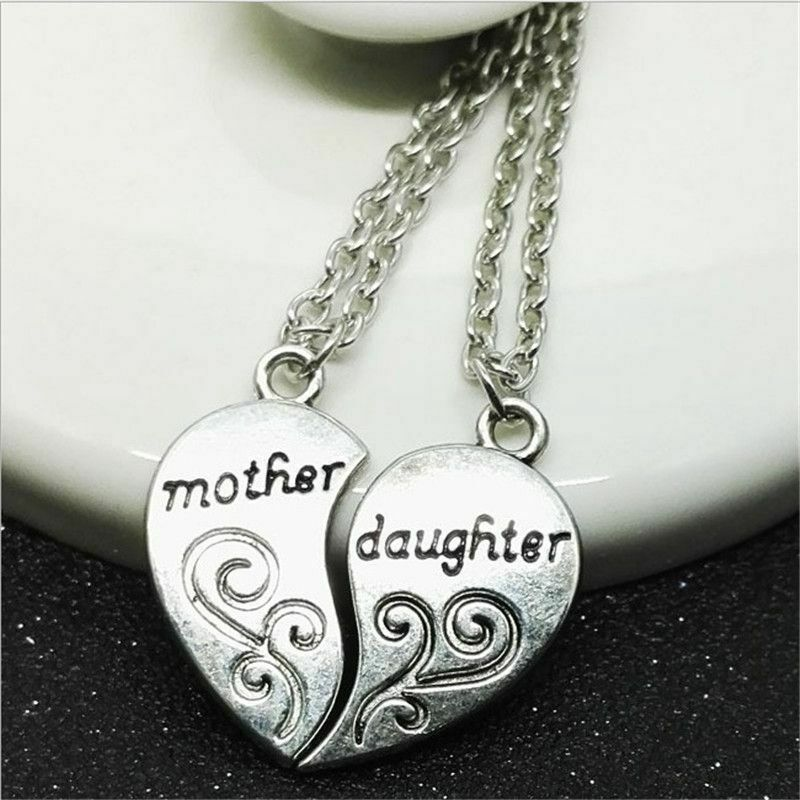 Gift and Daughter Heart Necklace 2PCS Set Mother Pendant Birthday Forever Love