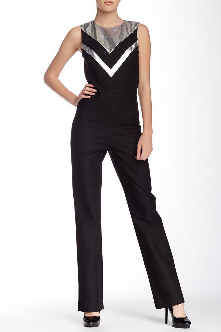 AMERICAN RETRO Colette Combi Jumpsuit Retro Sleeveless w  Metallic V Size 34