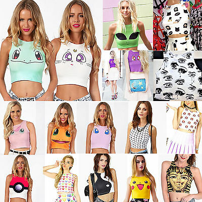 Womens Pokemon High Neck Crop Top Strappy Midriff Vest Tank Racerback Camisole