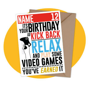 Relax Gamer - PERSONALISED BIRTHDAY CARD - personalized gaming ps5 xbox ps4 card