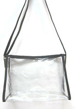Clear Purse Handbag Black Messenger Sling See Through Security Jelly Plastic New