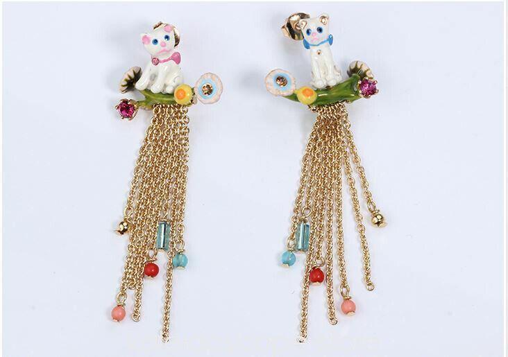LES NEREIDES Cat Chain  Stud Earring