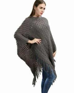 Gray-Knit-Crochet-Poncho-Sweater-Cape-w-Sequin-amp-Fringe-One-Size