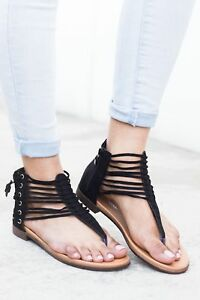 61e2c82f067795 Details about New Womens T-Strap Thong Open Toe Strappy Lace Up Gladiator  Flat Sandal Shoe Zip
