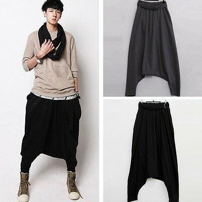Men Loose Hippie Harem Trousers New Dance Pants Drop Crotch Pants Baggy Slacks