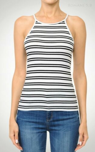 Fitted Striped HALTER Tank Top Ribbed Stretch Cotton Knit Racer Back High Neck