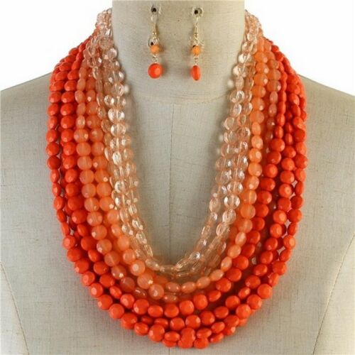 Multi Couches Multi corail Lucite Perle Chunky Collier Boucle d/'oreille