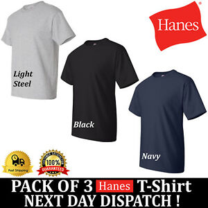 0e020c09 3 PACK HANES Beefy-T T-Shirt 100% Cotton 5180 Mens Lowest Price Top ...