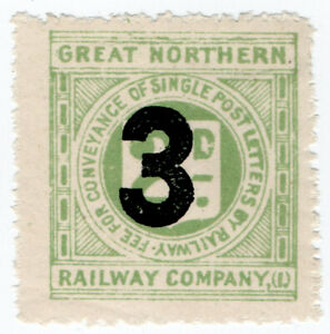 I-B-Great-Northern-Railway-Ireland-Letter-Stamp-3d-on-2d-OP