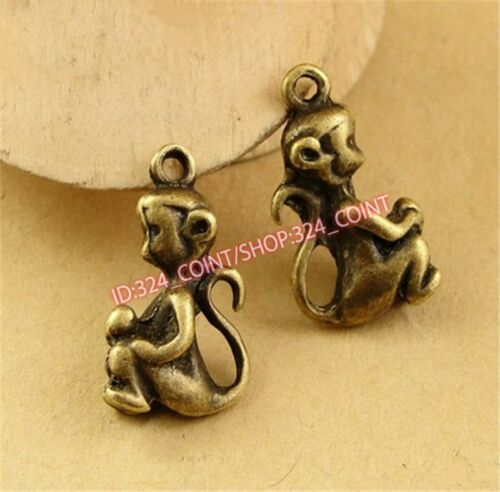 P1541 12pc DIY Antique Bronze monkey Pendant Beads Charms Jewellery Making