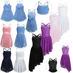 Girls-Glittery-Ballet-Dress-Kids-Skating-Gym-Leotard-Lyrical-Dance-wear-Costume