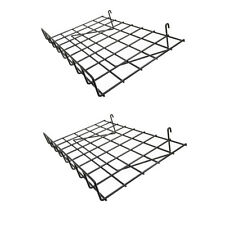 Set Of 2 Pieces Gloss Black Wire Grid Shelf With Lip Size 24 Inch X 15 Inch