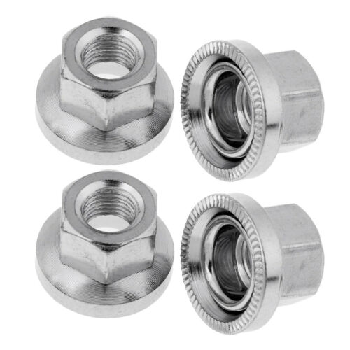 """Bicycle Wheel BMX//MTB Bike AXLE NUTS 3//8/"""" Components Silver Set of 4pcs"""
