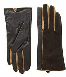 Calvin Klein Brown Leather Suede Gloves Women's Size M 1655