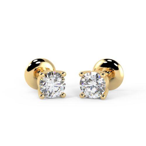 9k Yellow Gold 0.25 Ct Round Diamond Push Back Stud Earrings