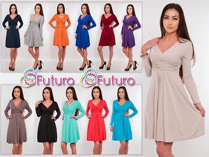 Classic-amp-Sensible-Women-039-s-Dress-V-Neck-Long-Sleeve-Tunic-Sizes-8-18-Y8467