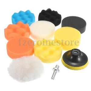 10x-Sponge-Polishing-Buffer-Pads-Mops-Kit-Set-amp-Drill-Adapter-For-Car