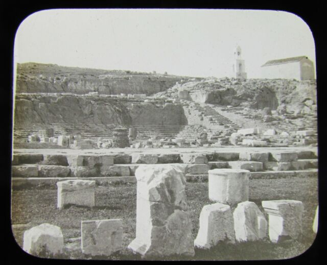 Glass Magic Lantern Slide TEMPLE OF MYSTERIES ELEUSIS ATHENS C1910 GREECE