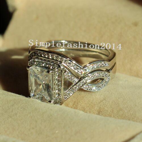 Princess Cut AAAAA Cz White Gold Filled Engagement Wedding Ring Set Sz 5-11