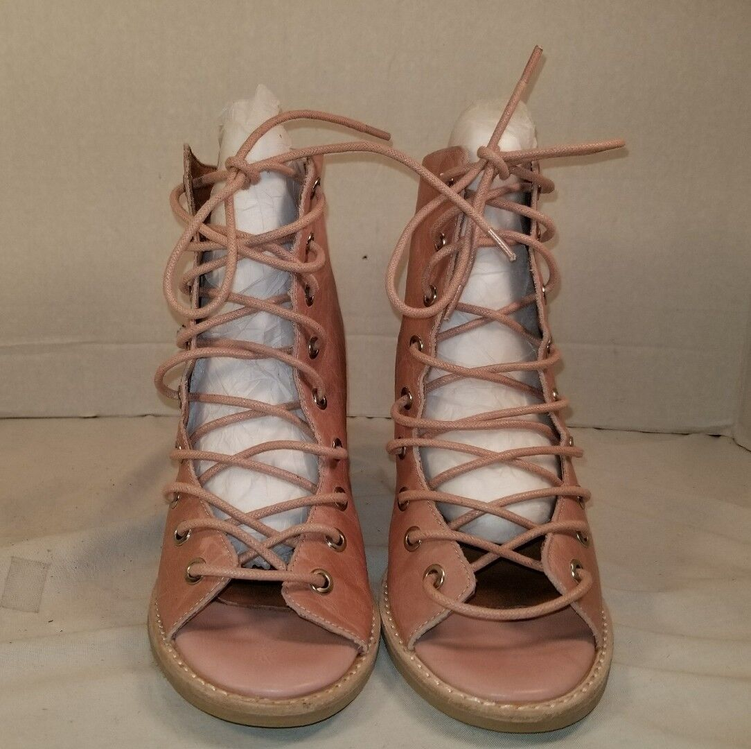 NEW JEFFREY CAMPBELL FREE FREE FREE PEOPLE PINK LEATHER MINIMAL LACE UP HEEL WOMENS US 10 8bdd27