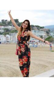 1e3a6ce20af Image is loading Zara-Black-Floral-Print-Crossover-V-Neck-Jumpsuit-