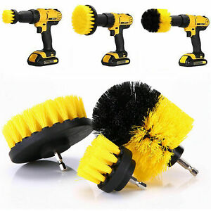 3-Power-Scrubber-Drill-Brush-Kit-Clean-Shower-Tile-Grout-Automotive-Clean-Yellow