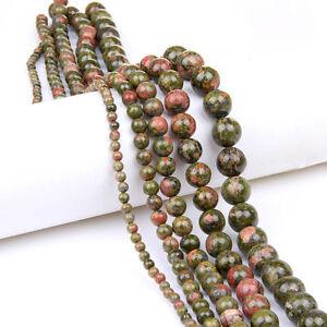 Round-unakite-jasper-Loose-Beads-Strand-Bijoux-Making-Collier-A-faire-soi-meme-6-8-10-12mm