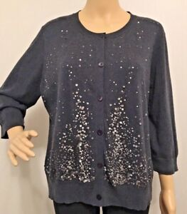 a7d29a011c60a5 Image is loading Eileen-Fisher-Charcoal-Gray-Sequin-Cotton-Cashmere-Cardigan -